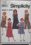 Simplicity 7948 Misses' Jumper, V-neck, Scoop Neck, Split Skirt, Size WW 18 -24