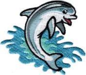 Dolphin - Blue Jumping In Waves- Embroidered Sew or Iron on Patch