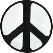 Peace Sign - Round Black and White - Embroidered Sew or Iron on Patch