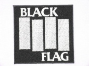 "BLACK FLAG Logo Embroidered Iron On HC Punk Patch 3.5""/9cm x 3.5""/9cm By MNC Shop"