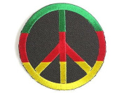 Rasta Peace Sign Africa Hippy Iron On Embroidered PatchApprox