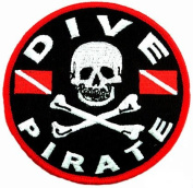 Dive Pirate Patch Embroidered Iron On Scuba Diving Jolly Roger Skull Crossbones Emblem Souvenir
