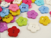 100pcs 21mm Mini Flower 2 Holes Plastic Buttons Kid's Sewing Crafts Mix