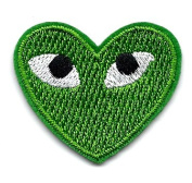 """PLAY"" COMME des GARCONS Green Heart Eyes Embroidered Iron On / Sew On Patch"