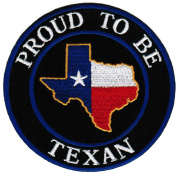 Proud To Be Texan Embroidered Patch Lone Star Texas State Flag Iron-On Biker Emblem