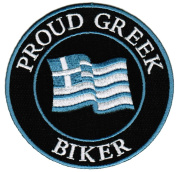 Proud Greek Biker Embroidered Patch Greece Flag Iron-On Motorcycle Emblem
