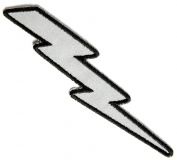 Reflective Lightning Bolt Right Iron on 3.2cm x 13cm Embroidered Patch
