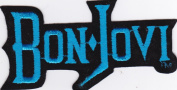 Bon Jovi Rare Iron on/Sew on Embroidered Music Patch - Neon Blue