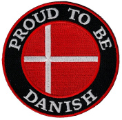 Proud To Be Danish Embroidered Patch Denmark Flag Iron-On Biker Emblem