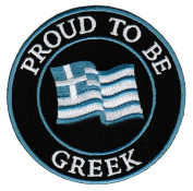 Proud To Be Greek Embroidered Patch Greece Flag Iron-On Biker Emblem