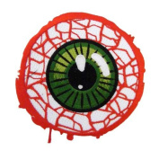 Novelty Iron On Patch - Creepy Zombie Dead Bloodshot Eyeball Applique