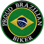 Proud Brazilian Biker Embroidered Patch Brazil Brasil Flag Iron-On Motorcycle Emblem
