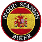 Proud Spanish Biker Embroidered Patch Spain Flag Iron-On Motorcycle Emblem