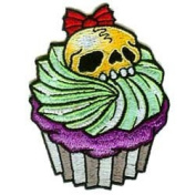 Novelty Iron On Patch - Creepy Zombie Dead Sweet Yellow Skull w/ Bow Cucpcake & Frosting Applique