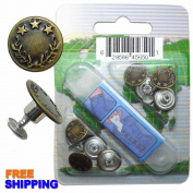 Leaves and Stars Brass Kit, 8 Set with Tool Jean Tack Buttons