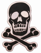 Skull & Crossbones White on Black Embroidered Iron On Applique Patch 15cm