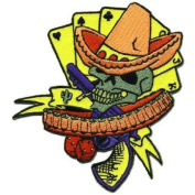 Artist Dan Collins Skull Poker Bandito Embroidered Iron On Applique Patch