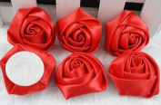 18x Big Satin Ribbon Rose Flower DIY Craft Appliques.
