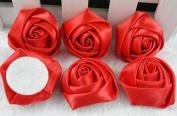 18x Big Satin Ribbon Rose Flower DIY Craft Appliques.