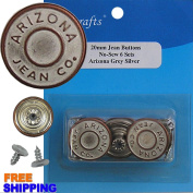 6/PKG 20mm Jeans Grey Silver No-Sew Jean Tack Buttons 462