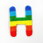 H Alphabet Rainbow Embroidered Iron or sew on Patches Height 3.8cm
