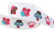 Hip Girl Boutique 5yd 2.2cm Cupcake Grosgrain Ribbon--White