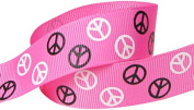Hip Girl Boutique 5yd 2.2cm Peace Sign Ribbon-Grosgrain-Hot Pink/Black+White