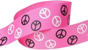Hip Girl Boutique 5yd 2.2cm Peace Sign Ribbon-Grosgrain-Hot Pink/Black+White