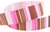Hip Girl Boutique 5yd 2.2cm Stripes Grosgrain Ribbon--Pearl Pink