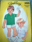 TODDLERS SADDLE RUGBY SHIRT SIZE 1-2-3-4 SEW EASY SEWING PATTERN 105