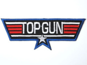 "TOP GUN Navy Fighter Pilot Military Fancy Dress Iron On Patch 4.9""12.5cm x 1.7""/4.5cm BY MNC SHOP"