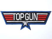 "TOP GUN Navy Fighter Pilot Military Fancy Dress Iron On Patch 4.9""12.5cm x 1.7""/4.5cm BY MNC SHOP"