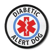 DIABETIC ALERT DOG Black Border Medical 10cm Sew-on Patch