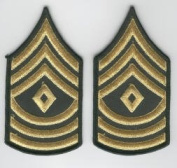 1st Sergeant E-8 Army Chevrons - Gold on Green