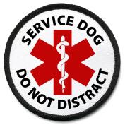 DO NOT DISTRACT SERVICE DOG Black Rim 10cm Patch