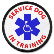 SERVICE DOG IN TRAINING Medical Symbol 10cm Black Rim Sew-on Patch
