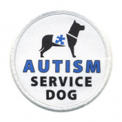 AUTISM SERVICE DOG Blue Medical Alert 10cm Sew-on Patch