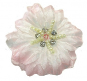 Cuteque International Soft Silk Flower 6-Pack Rhinestone Embellishments, Light Pink