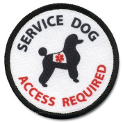Poodle SERVICE DOG ADA Access Required Medical Alert 10cm Black Rim Sew-on Patch