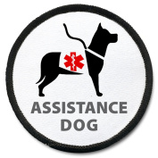 ASSISTANCE DOG Image Black Rim Medical Alert Symbol 10cm Sew-on Patch