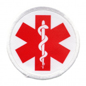 RED MEDICAL ALERT SYMBOL 10cm Sew-on Patch