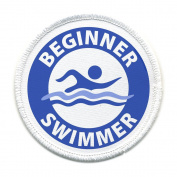 Blue BEGINNER SWIMMER Pool Safety Alert 10cm Sew-on Patch