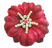 Cuteque International Soft Silk Flower 6-Pack Rhinestone Embellishments, Raspberry