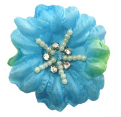 Cuteque International Soft Silk Flower 6-Pack Rhinestone Embellishments, Turquoise