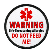 DO NOT FEED ME Food Allergy Warning Alert 10cm Black Rim Sew-on Patch