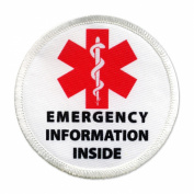 Emergency Information Inside Red Medical Alert 10cm Sew-on Patch