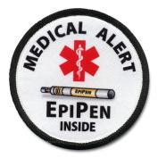 EPIPEN INSIDE Medical Alert Symbol 10cm Black Rim Sew-on Patch