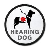 HEARING DOG Image Black Rim Medical Alert Symbol 10cm Sew-on Patch