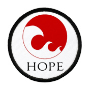 HOPE in JAPAN Earthquake Tsunami Survivors Flag 10cm Black Rim Sew-on Patch