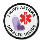I HAVE ASTHMA INHALER INSIDE Black Rim Medical Alert Symbol 10cm Sew-on Patch
